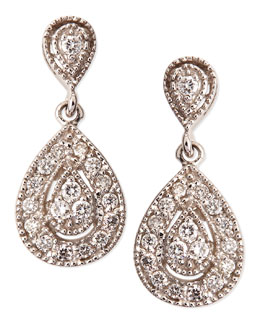 KC Designs Antiqued Pave Diamond Teardrop Earrings