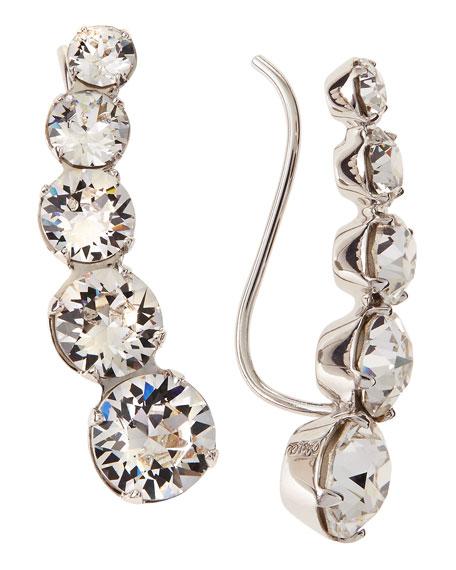 Debutante Lobo Linear Earrings, Silver Plate