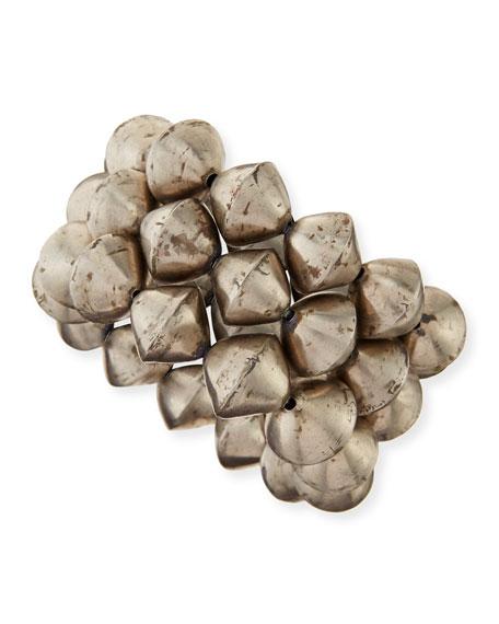 African Silver Bead Stretch Bracelets, Set of 3