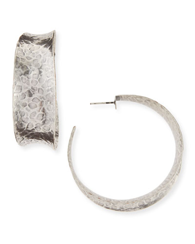 Nest Hammered Oxidized Silver Graduated Hoop Earring