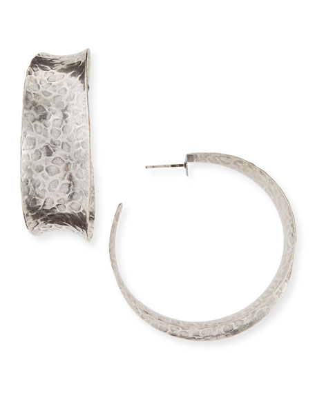 NEST Jewelry Hammered Oxidized Silver Graduated Hoop Earring