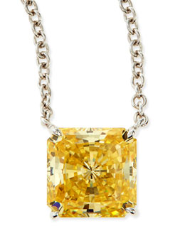 Fantasia by DeSerio 10mm Radiant Canary Cubic Zirconia Necklace