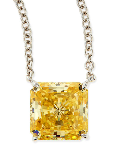 10mm Radiant Canary Cubic Zirconia Necklace