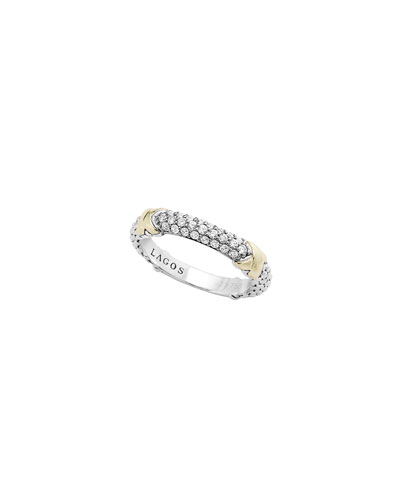 Lagos Silver & 18k Gold Pave Diamond Band Ring, Size 7