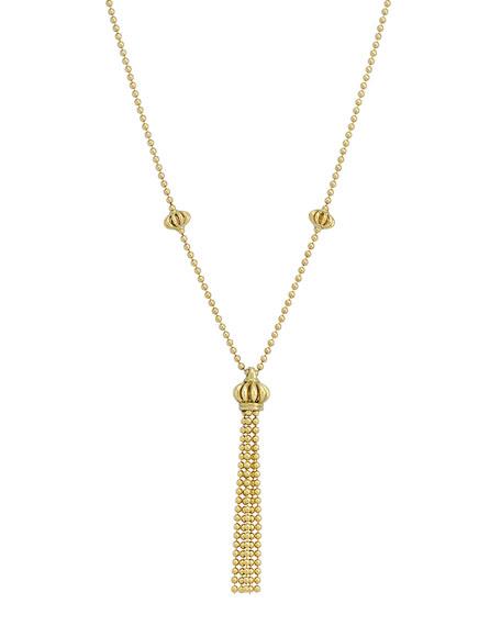 18k Yellow Gold Birdcage Tassel Necklace