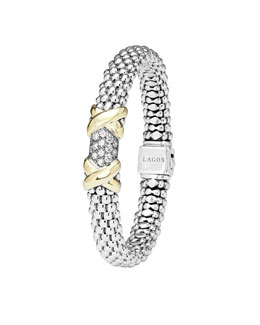Lagos Silver & 18k Gold Diamond Lux Small Bracelet, 9mm