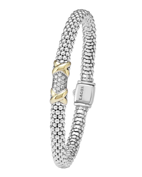 Silver & 18k Gold Diamond Lux Small Bracelet, 6mm