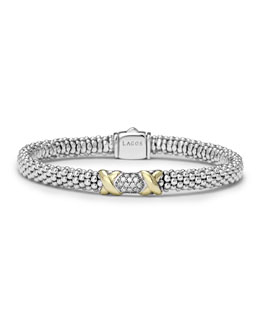 Lagos Silver & 18k Gold Diamond Lux Small Bracelet, 6mm