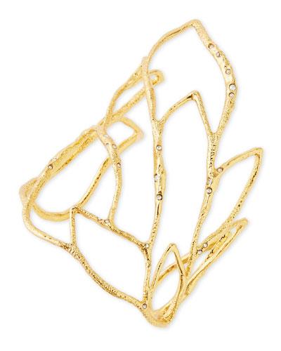 Alexis Bittar Golden Crystal Embellished Rocky Leaf Cuff