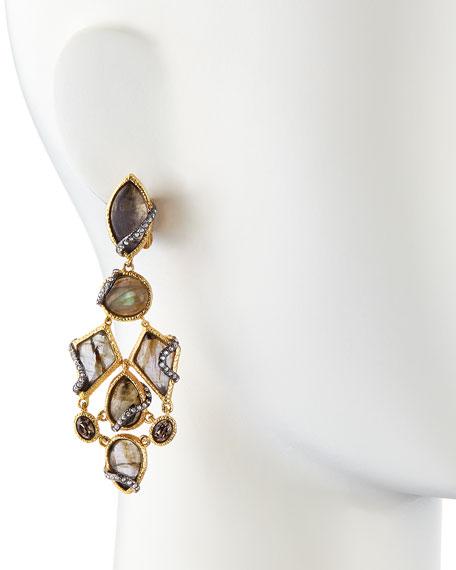 Multi-Stone Dangling Clip-On Earrings