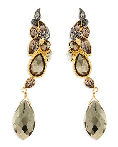 Alexis Bittar Crystal & Pyrite Rocky Earring Cuffs