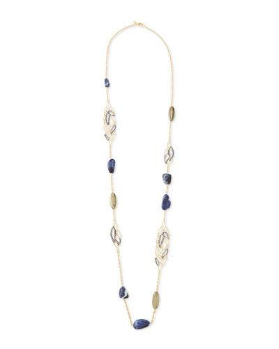 Alexis Bittar Lacy Leaf Station Necklace with Pyrite and Sodalite
