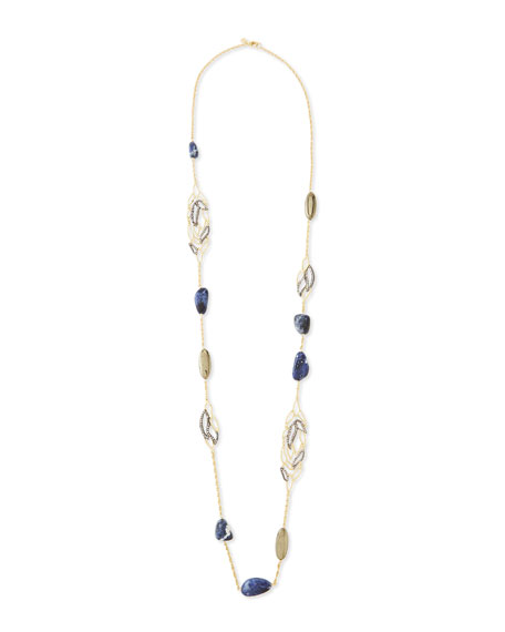 Lacy Leaf Station Necklace with Pyrite and Sodalite