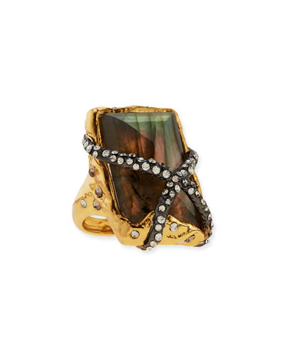 Alexis Bittar Rocky Labradorite Ring with Crystals