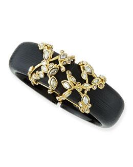 Alexis Bittar Crystal Lace Black Lucite Bracelet