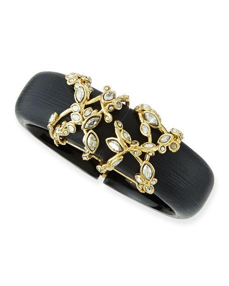 Crystal Lace Black Lucite Bracelet