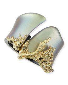 Alexis Bittar Crystal-Embellished Swan Hinge Cuff, Gray