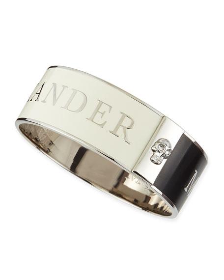 Alexander McQueen Medium 3D Enamel Logo & Skull Cuff, Black/White/Silvertone