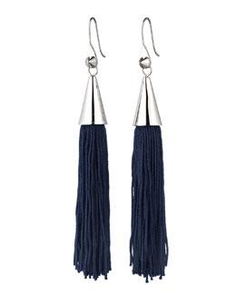 Eddie Borgo Silvertone Small Silk Tassel Earrings, Navy