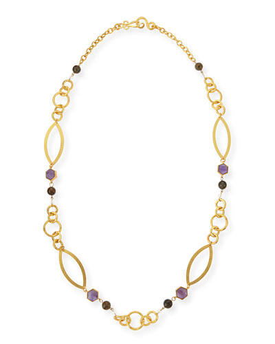 24k Gold-Plate Multi-Stone Peace Necklace, 42