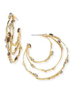 Alexis Bittar Crystal Lace Hoop Earrings