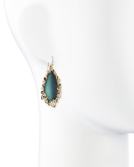 Teal Lucite & Crystal Lace Drop Earrings