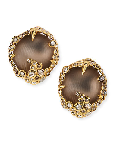 Alexis Bittar Crystal Lace Lucite Button Clip Earrings