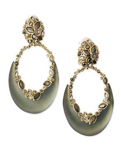 Alexis Bittar Lucite Crescent & Crystal Earrings, Gray