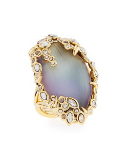 Alexis Bittar Crystal Lace Lucite Cocktail Ring