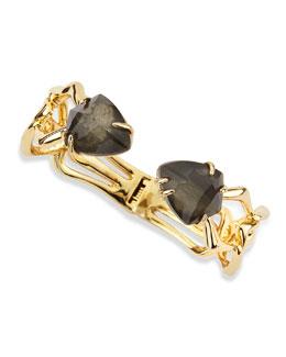 Alexis Bittar Hinged Fancy Pyrite/Crystal Doublet Bracelet