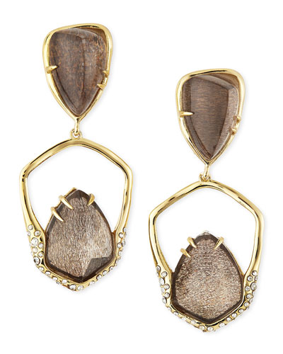 Alexis Bittar Encrusted Golden Dangling Clip-On Earrings