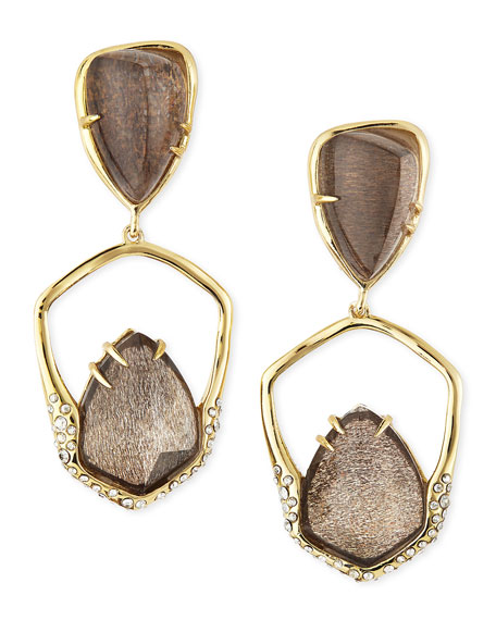 Encrusted Golden Dangling Clip-On Earrings