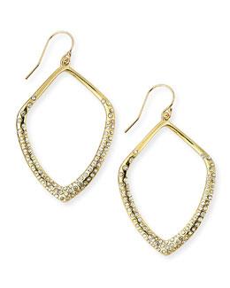 Alexis Bittar Golden Crystal Kite Earrings