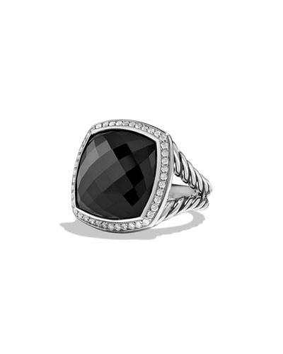 Albion Ring with Onyx and Diamonds, Size 6 and 7