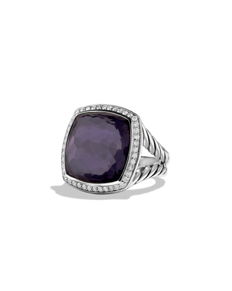 Albion Ring with Black Orchid and Diamonds, Size 6