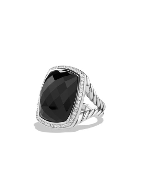 Albion Ring with Onyx and Diamonds, Size 7