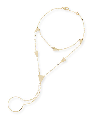 Lana 14-Karat Yellow Gold Crush Hand Chain