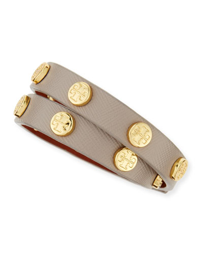 Tory Burch Logo-Studded Leather Wrap Bracelet, Dust Storm
