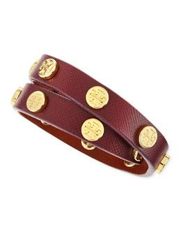 Tory Burch Logo-Studded Leather Wrap Bracelet, Plum