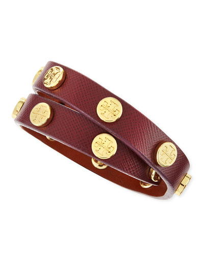 Tory Burch Logo-Studded Leather Wrap Bracelet, Plum
