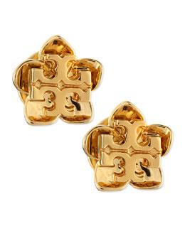 Tory Burch Cecily Golden Flower Stud Earrings