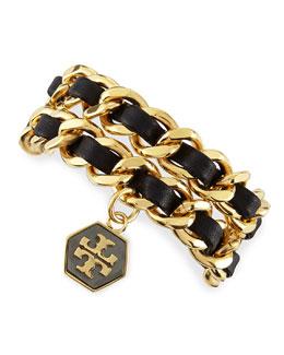 Tory Burch Woven Leather Chain Wrap Bracelet, Black/Golden