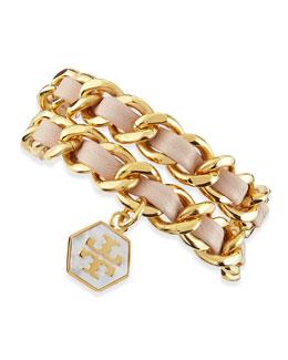 Tory Burch Woven Leather Chain Wrap Bracelet, Light Oak/Golden