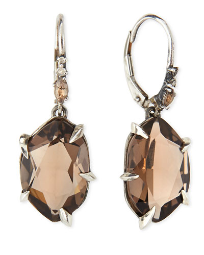 Alexis Bittar Fine Fancy Smoky Quartz & Diamond Drop Earrings