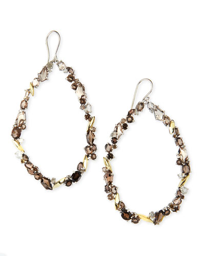Alexis Bittar Fine Smoky Quartz & Diamond Oval Cluster Hoop Earrings