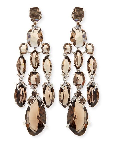 Smoky Quartz & Diamond Chandelier Earrings