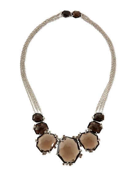 Large Smoky Quartz & Diamond Cluster Necklace
