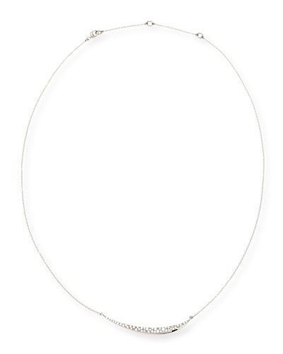 Alexis Bittar Fine Silver Pave Diamond Marquise Crescent Necklace
