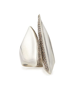 Alexis Bittar Fine Silver Sculptural Cleaved Ring with Diamonds