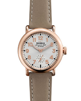 Shinola The Runwell Rose Golden Watch with Tan Leather Strap, 36mm